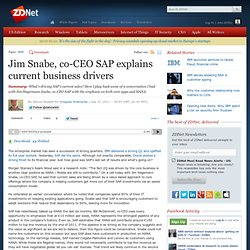 Jim Snabe, co-CEO SAP explains current business drivers