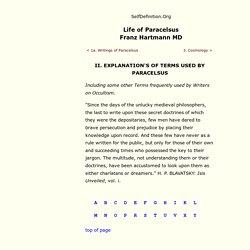 2 Explanation of Terms - Franz Hartmann - Life of Paracelsus