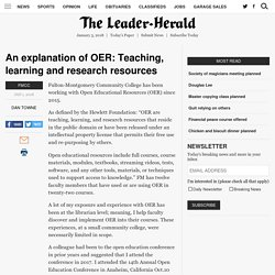 An explanation of OER: Teaching, learning and research resources