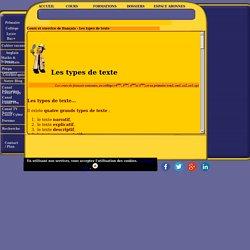 Cours de français, exercices : les types de texte (narratif, explicatif, descriptif, argumentatif).