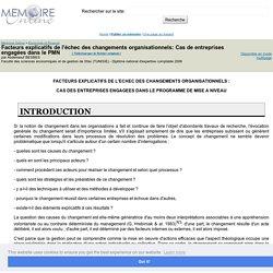 Facteurs explicatifs de l'échec des changements organisationnels: Cas de entreprises engagées dans le PMN - Abderraouf BESBES