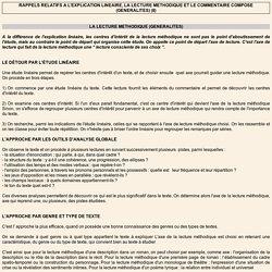 RAPPELS RELATIFS A L'EXPLICATION LINEAIRE, LA LECTURE METHODIQUE ET LE COMMENTAIRE COMPOSE (GENERALITES) (II)