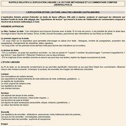 RAPPELS RELATIFS A L'EXPLICATION LINEAIRE, LA LECTURE METHODIQUE ET LE COMMENTAIRE COMPOSE (GENERALITES) (I)