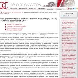 """Note explicative relative à l'arrêt n°374 du 4 mars 2020 (19-13.316) - Chambre sociale (arrêt """"Uber"""")"""