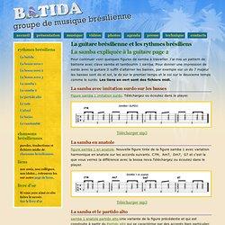 La samba 2 expliquée pour la guitare à l'aide de partitions et de midi files