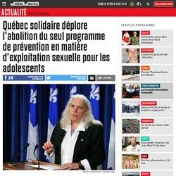 Québec solidaire déplore l'abolition du seul programme de prévention en matière d'exploitation sexuelle pour les adolescents
