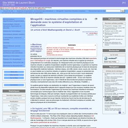 MirageOS : machines virtuelles compilées à la demande avec le système d'exploitation et l'application
