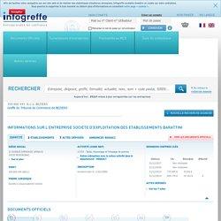 SOCIETE D'EXPLOITATION DES ETABLISSEMENTS BARATTINI à MONTAGNAC (399800945), CA, bilan, KBIS