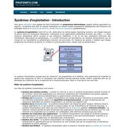 Systèmes d'exploitation - Introduction
