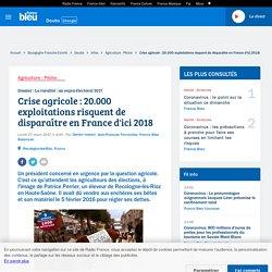 Crise agricole : 20.000 exploitations risquent de disparaître en France d'ici 2018
