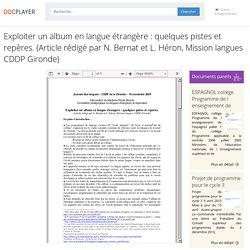 ⭐Exploiter un album en langue étrangère : quelques pistes et repères. (Article rédigé par N. Bernat et L. Héron, Mission langues CDDP Gironde)