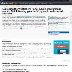 Exploiting the WebSphere Portal 5.1.0.1 programming model: Part 4: Making your portal dynamic and context sensitive
