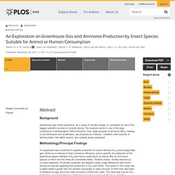 An Exploration on Greenhouse Gas and Ammonia Production by Insect Species Suitable for Animal or Human Consumption