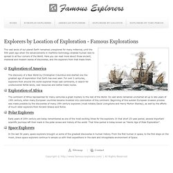 Explorers by Location of Exploration - Famous Explorations