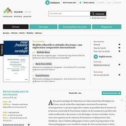 Modèles éducatifs et attitudes des jeunes: une exploration comparative internationale
