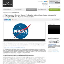 NASA Announces Plans for Human Exploration of Deep Space, Fosters Commercial Spaceflight and...