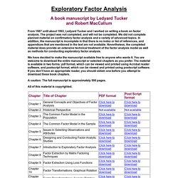 Exploratory Factor Analysis: A book manuscript by Ledyard
