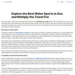 Explore the Best Water Sports in Goa and Multiply the Travel Fun