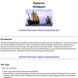 Explorers  WebQuest