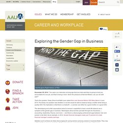 Exploring the Gender Gap in Business