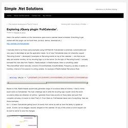 Exploring JQuery plugin 'FullCalendar'.