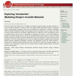 Exploring 'Immaterials': Mediating Design's Invisible Materials