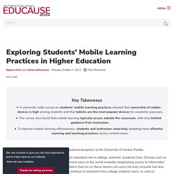 Exploring Students' Mobile Learning Practices in Higher Education
