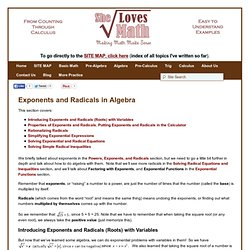 Exponents and Radicals in Algebra - She Loves Math