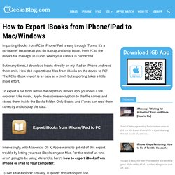 How to Export iBooks from iPhone/iPad to Mac/Windows