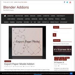 Export Paper Model Addon - Blender 2.82