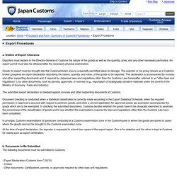Export Procedures : Japan Customs