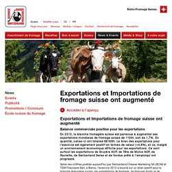 Exportations et Importations de fromage suisse ont augmenté - Fromage Suisse - Switzerland Cheese Marketing