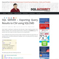 Exporting Query Results to CSV using SQLCMD