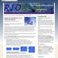 "Exposé de Noël Rocher sur le ""Cloud Computing"" - Site RIO2"