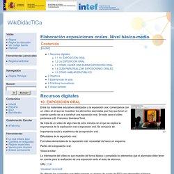 Elaboración exposiciones orales. Nivel básico-medio - WikiDidácTICa