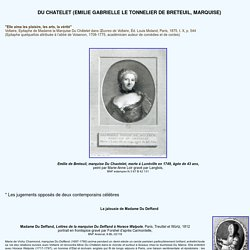 site de l'exposition Emilie du Chatelet, universite Paris 12