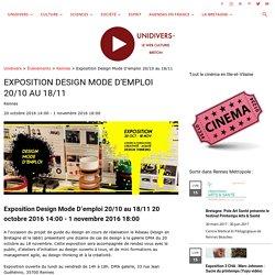 Exposition Design Mode D'emploi 20/10 au 18/11 - Unidivers