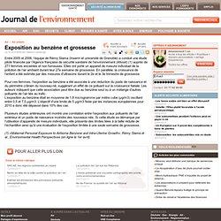 JOURNAL DE L'ENVIRONNEMENT 10/04/09 Exposition au benzène et grossesse