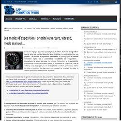 Les modes d'exposition : priorité ouverture, vitesse, mode manuel…