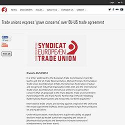 Les syndicats expriment de «graves inquiétudes» face à l'accord commercial UE-USA