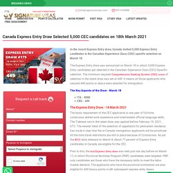 Canada Express Entry Draw Selected 5,000 CEC candidates on 18th March 2021