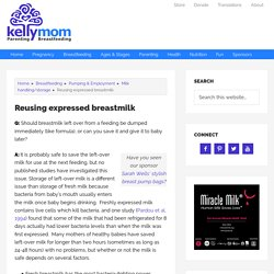 Reusing expressed breastmilk