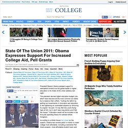 State Of The Union 2011: Obama Expresses Support For Increased College Aid, Pell Grants