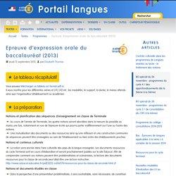 Epreuve d'expression orale du baccalauréat (2013)