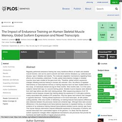 PLOS Genetics: The Impact of Endurance Training on Human Skeletal Muscle Memory, Global Isoform Expression and Novel Transcripts