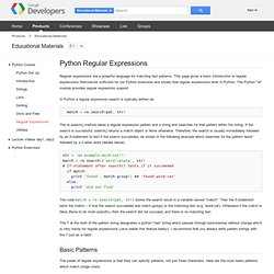 Python Regular Expressions - Educational Materials