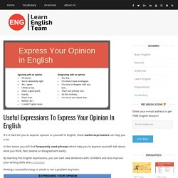 Useful Expressions to Express Your Opinion in English