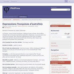 Expressions françaises d'autrefois - PhilFree