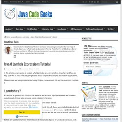 Java 8 Lambda Expressions Tutorial
