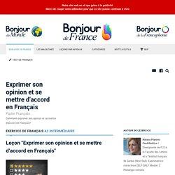 Exprimer son opinion et se mettre d'accord en Français - Intermédiaire